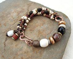 Rustic Tribal Bracelet – Earthy Beaded Multi Strand Bracelet in Natural Colors,  Bronze Bracelet , Mixed Metals, Ethnic Jewelry OOAK