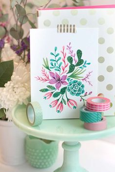 #DIY Card and printable. Love these watercolor florals. #Pinnersconf
