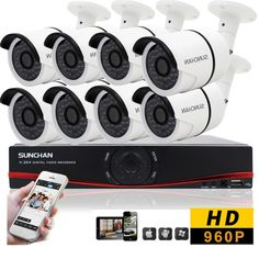 8CH Outdoor CCTV Security 8 AHD IP66 Waterproof Night 960P HD Camera DVR System…