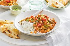 Butter Chickpeas—This vegan take on butter chicken boasts all the flavour and creaminess of the classic without any of the butter. Indian Food Recipes, Vegetarian Recipes, Cooking Recipes, Healthy Recipes, Canadian Living Recipes, Indian Cookbook, Fried Fish Recipes, Asian, Paleo Dinner