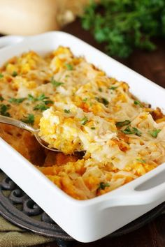 Butternut Squash Gratin is an easy, cheesy way to enjoy this winter squash. Can be made ahead for added convenience.