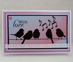 Tinyrose's Craft Room: Beccy's Place - Encore Week - Bird Song Bird Silhouette, Going On Holiday, Digital Stamps, Music Notes, Still Image, Bird Feathers, Bird Houses, Place Cards, About Me Blog