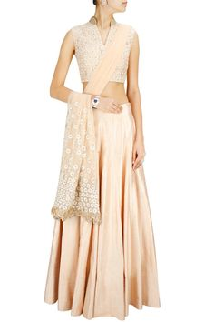 Beige embroidered lehenga set available only at Pernia's Pop-Up Shop.