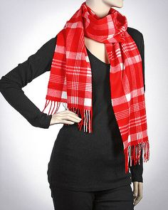 Cashmere Feel Woven Muffler: Over Plaid / RED
