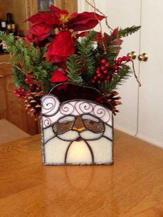 Stained Glass Santa Holiday Planter via Etsy