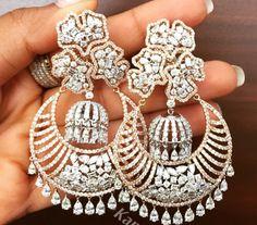pinterest- @nivetas Diamond Chandelier Earrings, Diamond Earing, Photo Jewelry, Fine Jewelry, Fashion Jewelry, New Jewellery Design, Bridal Earrings, Designer Earrings, Indian Jewelry