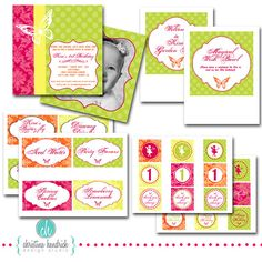 garden party printable labels and invitations