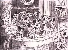 I just squealed & hugged myself so tight because this makes me absolutely happy! :) // 101 Dalmatian concept art