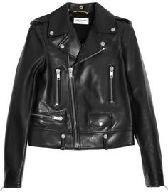 $5,290, Leather Biker Jacket by Saint Laurent. Sold by NET-A-PORTER.COM. Click for more info: http://lookastic.com/women/shop_items/5860/redirect