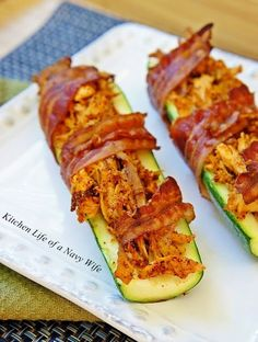 The Kitchen Life of a Navy Wife: Bacon Wrapped Chicken Stuffed Zucchini