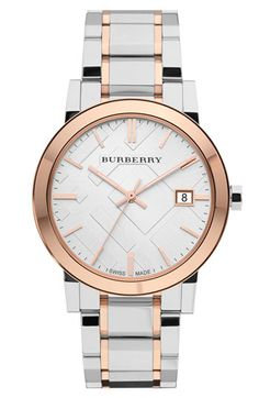 Burberry Large Check Stamped Bracelet Watch. Two tone silver & rose gold. Need this stat! $595
