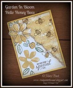 Stampin' in the Sand: Card: Garden In Bloom Hello Honey Bees. Stampin Up garden in bloom. stampin up watercolor wash stamp set