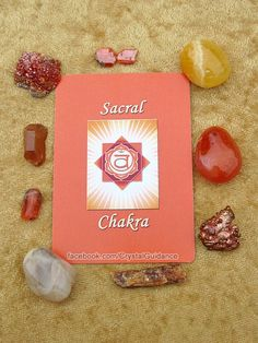 Sacral Chakra Crystals (Listed clockwise starting with the upper right hand corner): Orange Calcite, Carnelian, Copper, Orange Kyanite, Moonstone, Fire Opal, Tangerine Quartz, Vanadinite, Wulfenite. This is by no means all of the Sacral chakra crystals.