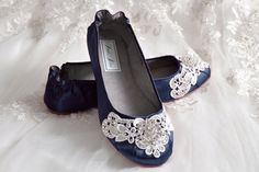 Wedding Shoes - Ballet Flats, 250 Colors, Vintage Lace, Swarovski Crystals, Belle-Women's Bridal Shoes