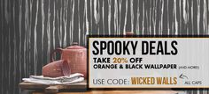 Want WICKED WALLS? Walls Republic is currently offering Spooky Deals! Now through November get off wallpapers we've selected just for you. Only a few days left to catch this sale- don't miss out! Wallpaper Stores, Wall Wallpaper, Halloween Sale, Happy Halloween, Inspiration Wall, Interior Inspiration, Orange Wallpaper, November 1st, Deal Sale