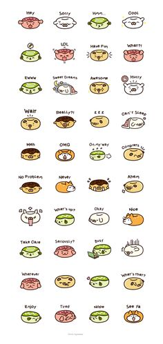 Dog Donuts Series 2 LINE stickers! I like the green tea most!!! #dogdonuts #dog #donut #pug #line #sticker #emoji #donut #doughnut #kawaii