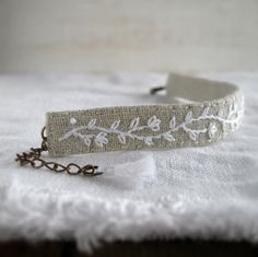 Hand Embroidered Cuff Bracelet - White Minimalist Vine on Natural Linen - Fabric Jewelry - Boho Style - Handmade by Sidereal
