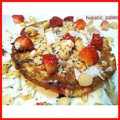 Beautiful macadamia nut and strawberry pancake.  Similar to yesterday as it was so nice. Paleo, gluten, dairy and sugar free.  It was a warm, golden and delicious breakfast. The pancake is buckwheat & coconut flour,  almond meal,  eggs, water, coconut fla