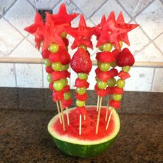 Fruit on a stick for church picnic. I used a star shape cookie cutter and a melon baller.
