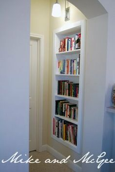Mike and McGee: From art niche to built-in bookcase. We could turn our niche into a bookcase too!