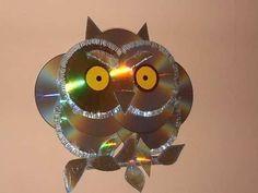 chouette diy avec vieux cd à recycler