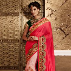 Fuchsia and Light Pink Faux Crepe and Net Saree with Blouse