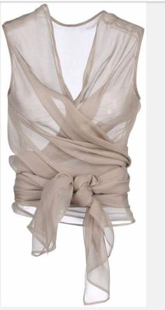 Items similar to Wrap Blouse/Top Sleeveless in Chiffon /Made to order on Etsy Mode Outfits, Fashion Outfits, Womens Fashion, Haider Ackermann, Grey Top, Sleeveless Blouse, Blouses For Women, Wrap Blouse, World Of Fashion