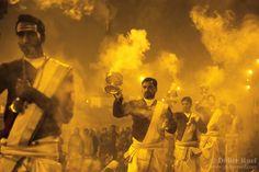 Maha Kumbh Mela. Ganga Aarti. Pray. Worship. Lights. Smoke ...