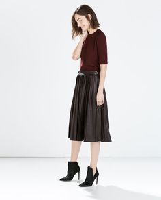 FAUX LEATHER PLEATED MIDI SKIRT from Zara