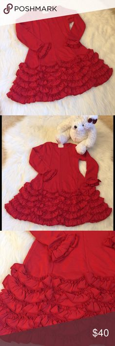 NWT🎄XMAS🎄Girls 5 Red Ruffles Dress Flared Skirt Holiday Party Perfect!  NWT Size 5. Lovely dress with princess seams that flare into a skirt covered with scalloped ruffles. Cotton. Lemon Loves Lime Dresses