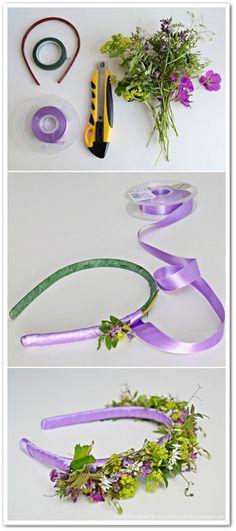 midsommarkrans, enkel midsommarkrans, diadem istället för midsommarkrans, diadem med blommor, alice band flowers, hair wreaths flowers