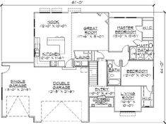 no double sinks in mbath. Traditional Style House Plans - 1425 Square Foot Home , 1 Story, 3 Bedroom and 2 Bath, 3 Garage Stalls by Monster House Plans - Plan 53-104