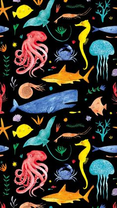 Pattern for spring summer 19 collection Mermaids. Sea animals love the bright colours & of course the sea theme! Animal Wallpaper, Wallpaper Iphone Cute, Nature Wallpaper, Cute Wallpapers, Wallpaper Backgrounds, Sea Illustration, Pattern Illustration, Pattern Art, Pattern Design