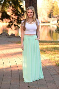Tall Tale Maxi Skirt- Mint