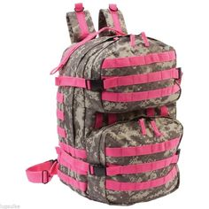 NEW Digital Camo Water Resistant Heavy Duty Backpack Bag with PINK Webbing