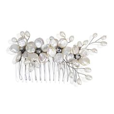 Floral Wreath Cultured Freshwater Coin Pearl Bridal Hair Comb - CR11FG9JLO3 - Brooches & Pins  #jewellrix #Brooches #Pins #jewelry #fashionstyle