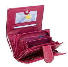 537422728d1b6 Große Rindleder Damen Geldbörse mit Extra Vielen Fächern in 5 Farben (Braun  in 2018