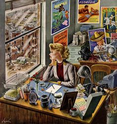 Daydreaming, art by Constantin Alajalov, detail from February 12, 1949 cover of Saturday Evening Post ~