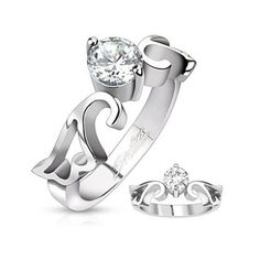 Stainless Steel Single Pronged CZ Heart Wing Band Ring. Starting at $1 on Tophatter.com!
