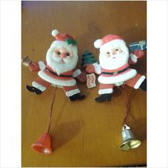 2 Vintage Plastic Santa Clause Pins That Move Used to get these at school from teachers at Christmas time