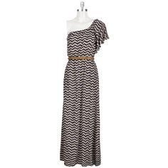 Willow & Clay Women's Contemporary One-Shoulder Zig-Zag Maxi Dress #VonMaur