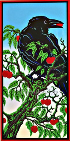 Cherry Thief by Steve Harmston  Ordinarily I'd put this in my crow/raven/blackbird section but I like the graphic color to it, so....