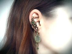 Earthy Bronze Ear Cuff, Cartilage Earring, Unique earrings With Chains, Leaf Charm, Floral earcuff, Bohemian earrings, Prom jewelry