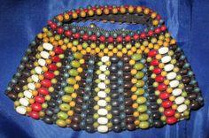 En bois perles Vintage Art déco des années 30 / 40 ' s Purse perles tchèques sac de soirée