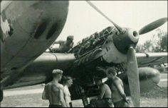 """Engine maintenance. Messerschmitt Bf 110C of 6./ZG 26 """"Horst Wessel"""" - France…"""