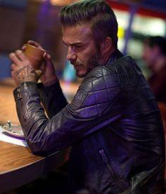 David Beckham Wearing a Belstaff Leather Jacket
