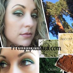 """""""Sequoia"""" presented by Pretty Up Lashes. """"There is beauty all around us, every day. Why not let nature inspire our makeup pallettes?"""" Younique pigments in innocent, empowered, beautiful and crushed create this soft look. Available individually or in money-saving collections at prettyuplashes.com"""