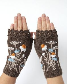 Knitted Fingerless Gloves, Chamomile, Clothing And Accessories, Gloves & Mittens, Gift Ideas, For Her, Winter Accessories, Accessories