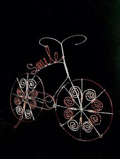 A personal favorite from my Etsy shop https://www.etsy.com/listing/224966608/smile-bicycle-wire-art