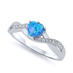 Sterling Silver Heart Blue Opal Promise Ring 6MM ( Size 5 to 11)